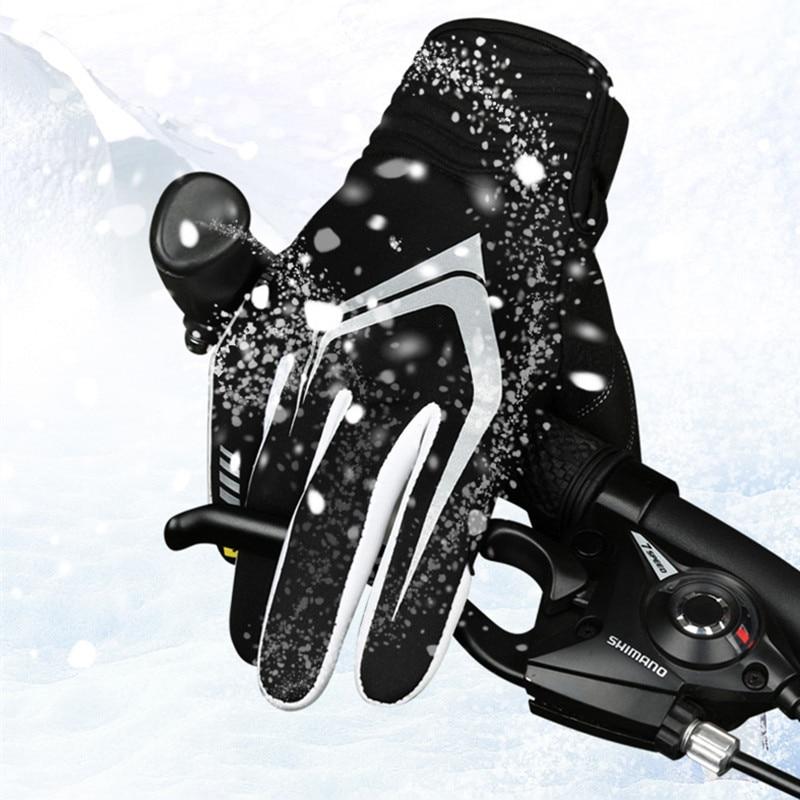 Prix pour Hiver Cyclisme Gants Long Doigt Noir En Plein Air Sport Skate Chaud Coupe-Vent Moto Vélo Gants Gants pour Homme M L XL
