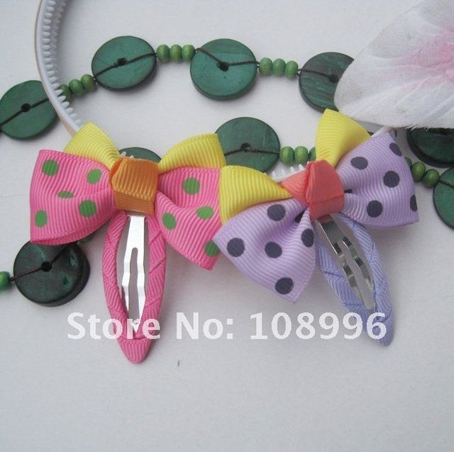 Freeshipping! New Kids/Girls/Baby Ribbon Bow Hair clips/Hair Pins/Hair Accessories 40pcs/lot 5colors can choose