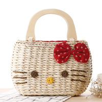Lovely Hello Kitty Handbag Manufacturers Selling Straw Bags Are Woven Beach Bag Natural Corn Skin Is