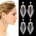 Dvacaman New Fashion Long Tassel Gem Crystal Luxury Statement Maxi Boho Bijoux Charm Party Earring Wholesale 7469
