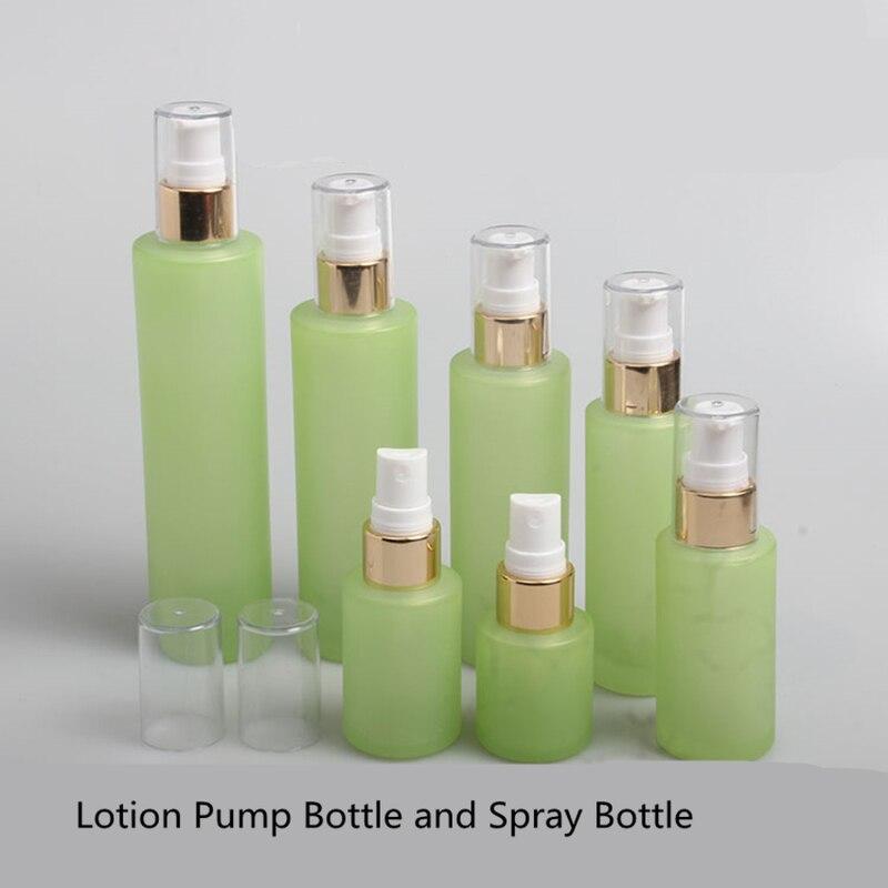 10Pcs Green Frosted Glass Spray Bottle Lotion Pump Bottle Aromatherapy Perfume Spray Bottle 20ml 30ml 40ml 60ml 80ml 100ml 120ml premium hydra b5 toner 120ml lotion 120ml set