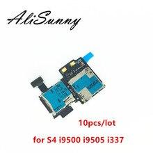 AliSunny 10 個 Sim カードトレイホルダーフレックスケーブル三星銀河 S4 i9505 i9500 i337 マイクロ SD スロットリーダーアダプタの修理部品