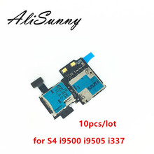 AliSunny 10pcs Sim Vassoio di Carta Del Supporto del Cavo Della Flessione per Samsung Galaxy S4 i9505 i9500 i337 Micro SD Slot Reader adattatore Parti di Riparazione