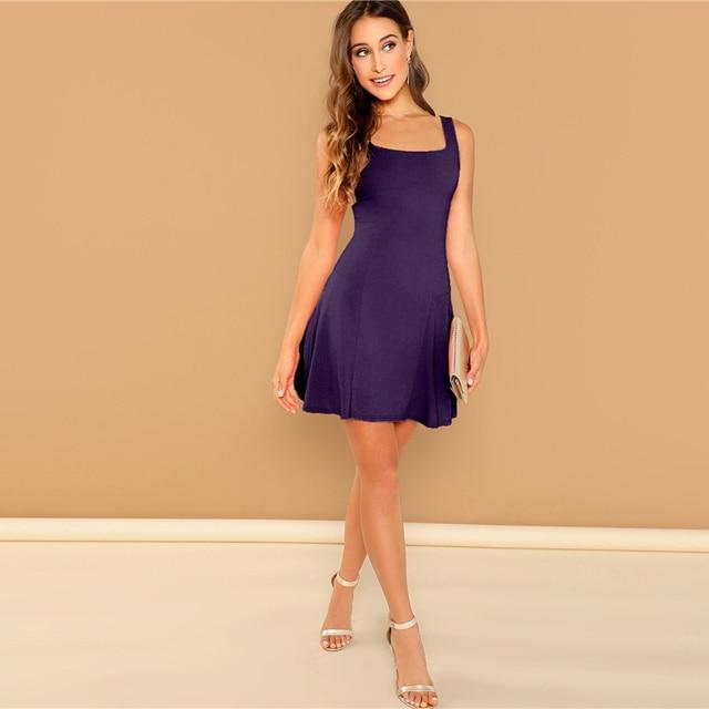 SHEIN Black Fit And Flare Solid Dress Elegant Straps Sleeveless Plain A Line Dresses Women Summer Autumn Zipper Short Dress 3