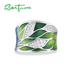 Image 2 - SANTUZZA Silver Rings For Women Genuine 925 Sterling Silver Green Bamboo leaves Luminous CZ Trendy Jewelry Handmade Enamel