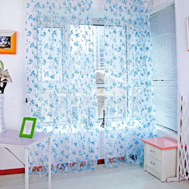 office window curtains blue country style flower tulle door window floral curtain drape panel voile valances scarf sheer for home