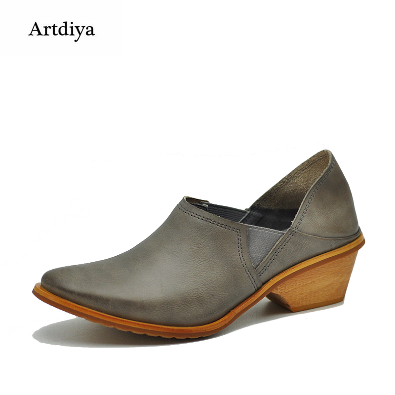 Artdiya Original European and American Retro Leather Deep Mouth Four Seasons Women Shoes 2018 New Two-in Handmade Shoes 823-5 european american classic fashion ultra textured halfmetal retro sunglasses for men women unisex with original box uv400 no 2514