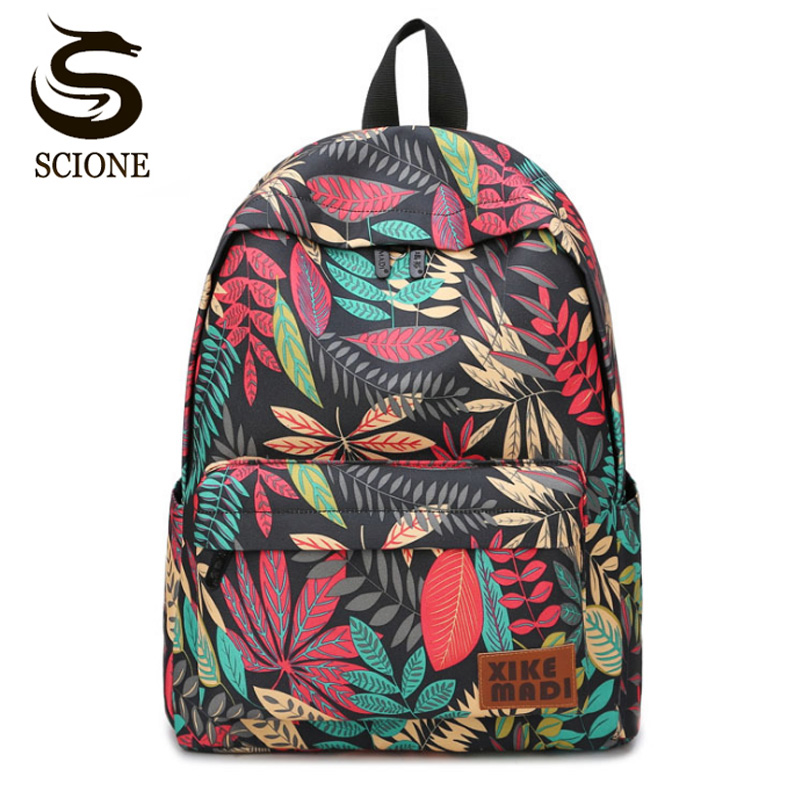 Scione Canvas Women School Bag Backpacks For Girls Mochila Escolar Maple Leaf Printing Computer Laptop Backpack School Rucksack