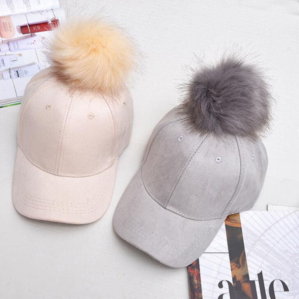 Suede Pompom Baseball Caps Leisure Women Caps Snapback Hats Fashion Adjustable Suede Cap Women Outdoor Sports Golf Hats