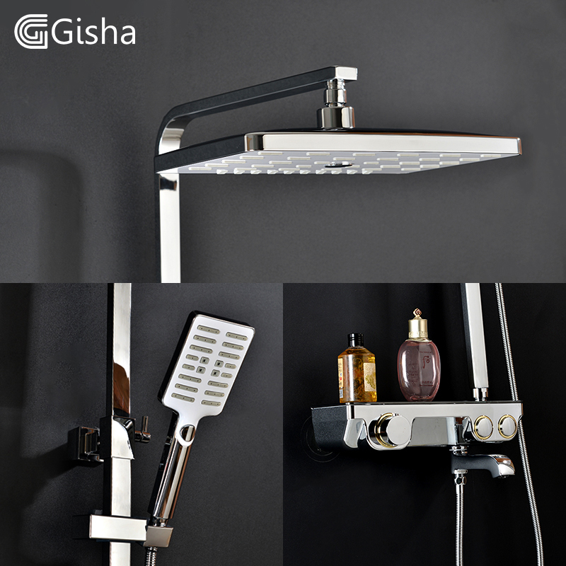 Gisha Wall Mounted Chrome Bathroom Rainfall Bath Shower Faucet Set Mixer Tap With Hand shower head bath tap G5011-A все цены