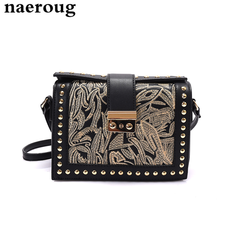 ФОТО 2017 Embroidery Women Messenger Bag Rivet Handbags Quality Shoulder Messenger Bags Borse Donna Marche Famose Brand Pelle Marchio