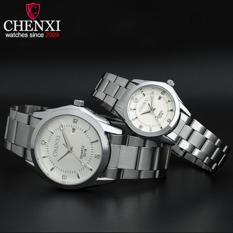 CHENXI Brand Quartz Calendar Steel Stainless Steel Lovers Watch Fashion Romantic Rhinestones Silver Couple Watches Tavolo