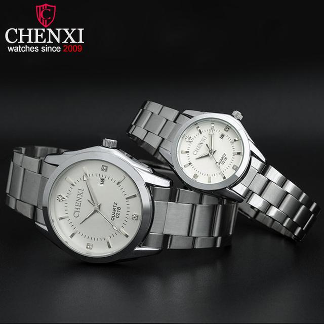 Chenxi marca amantes de aço inoxidável relógio de quartzo calendário aço moda romântico strass prata relógios casal tavolo coppie