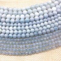 מכירה חמה טבעי כחול Aquamarines אבן עגולה חרוזים Spacer לdiy ביצוע עגילי תכשיטי צמיד