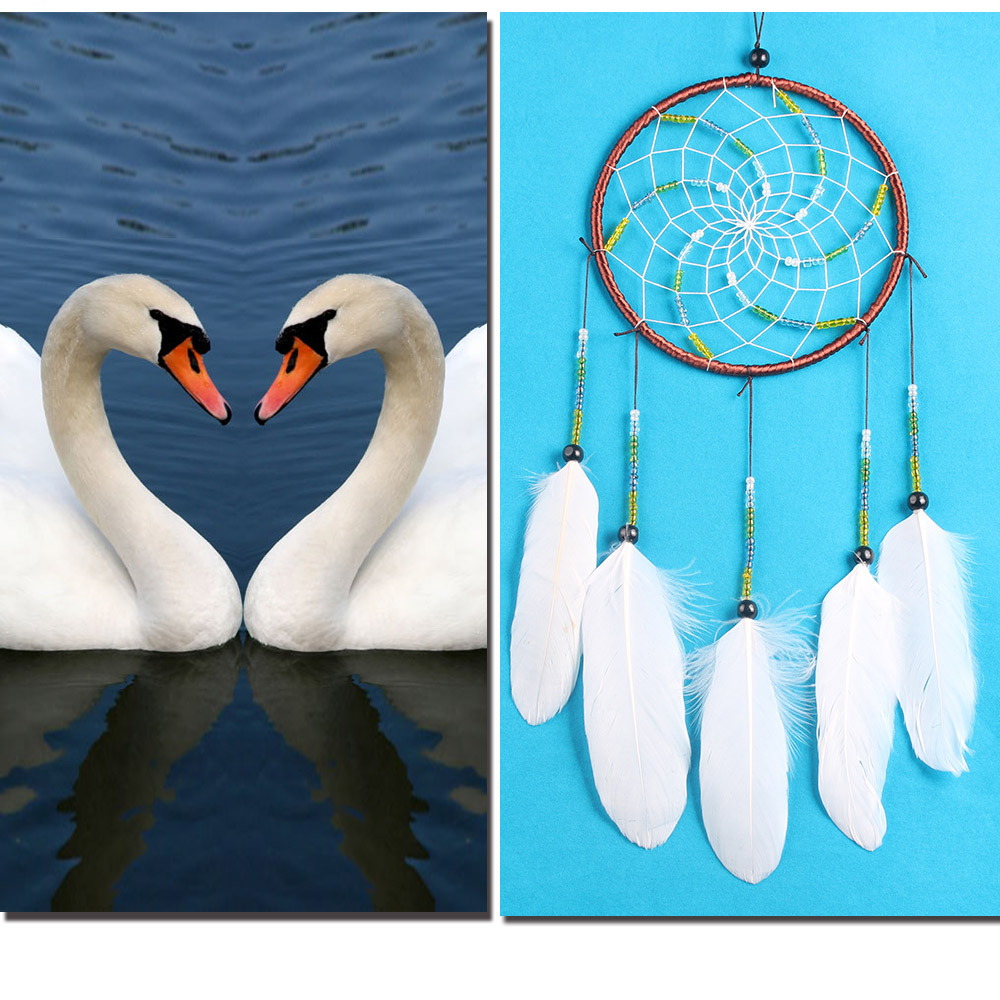 Beautiful dream catcher hand-woven dreamcatcher with white feathers wedding home wall decorations car is hanged adorn