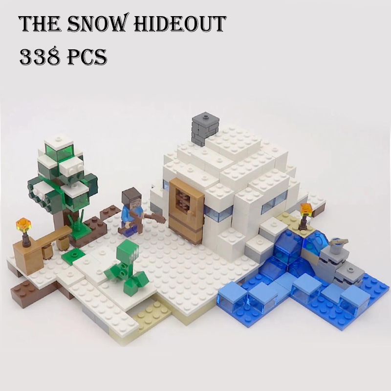 Model building kits compatible with lego 21120 18018 my worlds MineCraft The snow hide out Educational toys hobbies for children model building kits compatible with lego the sky dragon my worlds minecraft 548 pcs model building toys hobbies for children