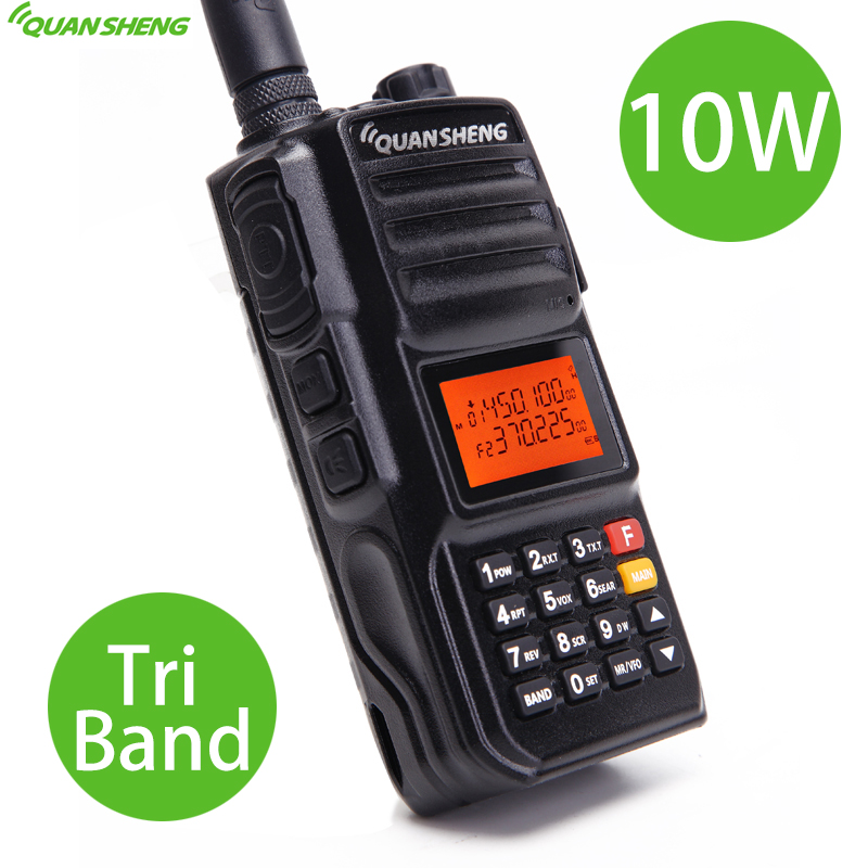Quansheng TG-UV2 PLUS High Power 10W Tri-Band 136-174MHz/Police 350-390MH/400-470MHz 4000mAh 10KM Long Range 200CH Walkie Talkie