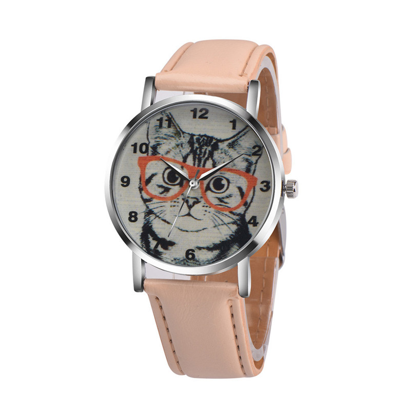 Women Watch Clock Newly Fashion Cat Pattern Leather Band Analog Quartz Vogue Wrist Watch Cute Gift Unique Simple Charming M1 perfect gift love gift women watches heart pattern flower leather band clock quartz analog wrist watch june06 p40