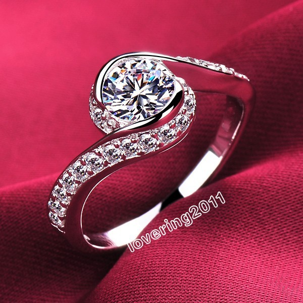 choucong Noble Lady 925 Sterling Silver White Diamonique Cross Wedding Ring Sz 4-10 Free shipping Gift