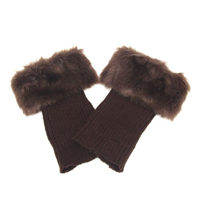 Горячая Распродажа, женские зимние меховые ножки гетры, мягкие сапоги из искусственного меха с манжетами, зимние носки под сапоги, модные аксессуары - Цвет: coffee
