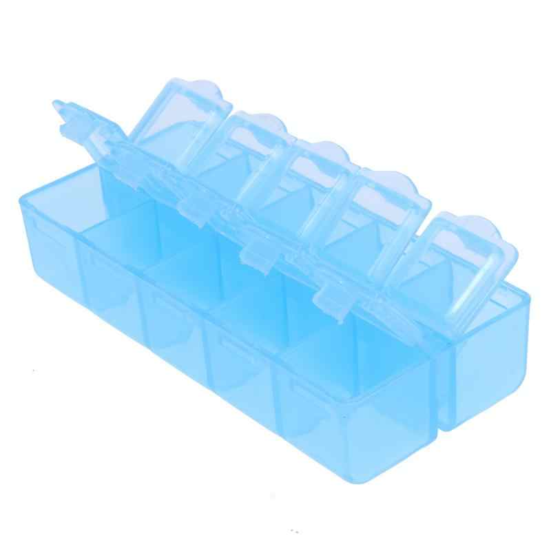 2 Rij 10 Slots Nail Art Strass Gereedschappen Clear Plastic Lege Opbergdoos Blauw Zoo Storage Box Holder Opslag Container case