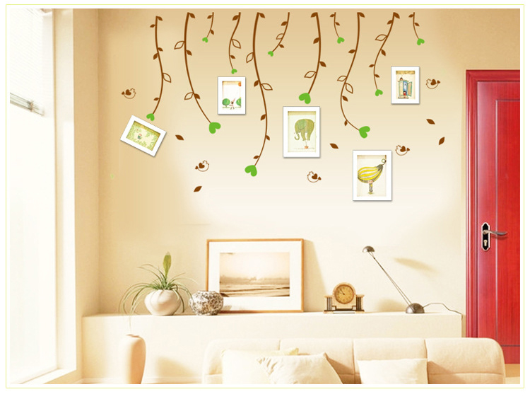 Marca 2017 diy extraíble pájaros rama marco de fotos vinilo decoración mural peg