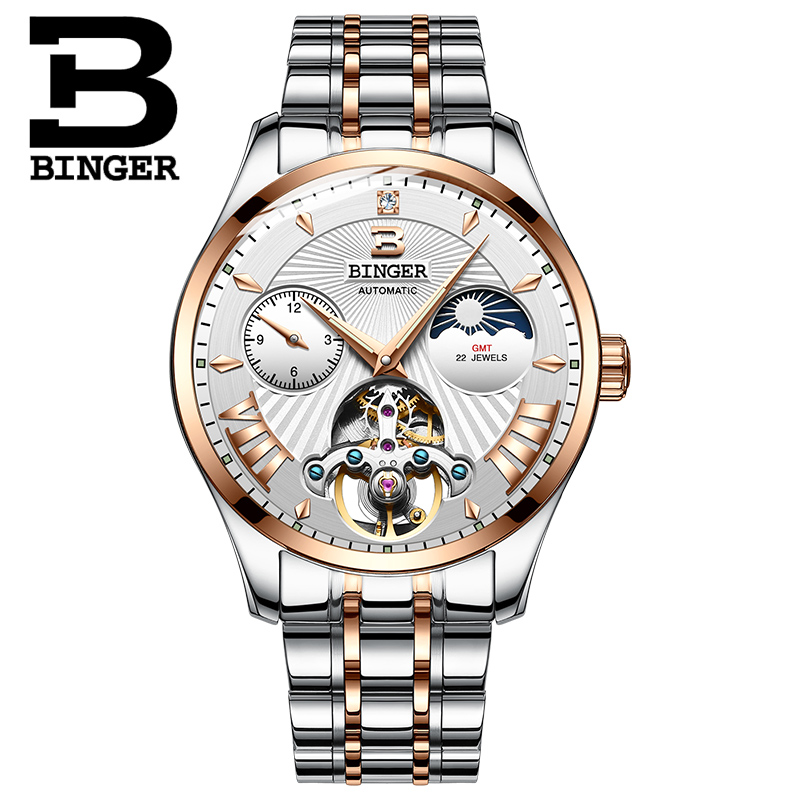 Switzerland Mechanical Watch Men Binger Role Luxury Brand Men Watches Skeleton Wrist Sapphire Men Watch Waterproof B-1186-5 wrist switzerland automatic mechanical men watch waterproof mens watches top brand luxury sapphire military reloj hombre b6036