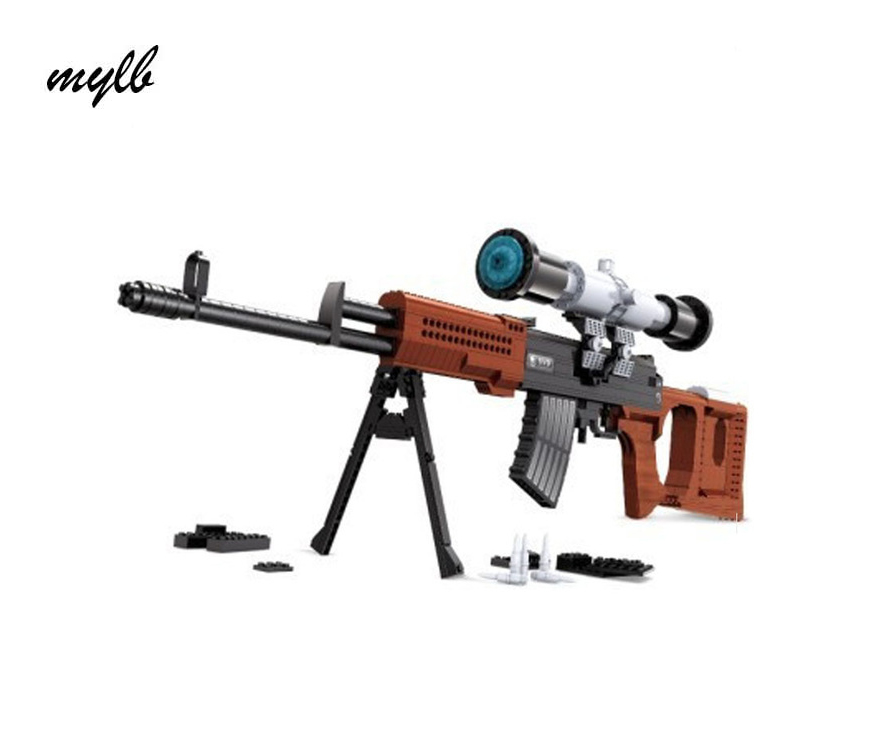mylb New Ausini Arms series Snayperskaya Vinyovka Dragunov Model Building Blocks Classic SVD sniper gun Toys boy birthday gift new lp2k series contactor lp2k06015 lp2k06015md lp2 k06015md 220v dc