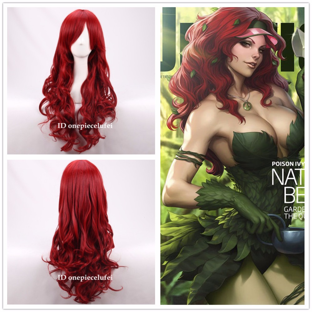 poison ivy hair style free shipping batman poison wavy anime 2354 | free shipping BATMAN Poison Ivy Long Wavy dark Red Anime Cosplay Hair Wig a wig cap