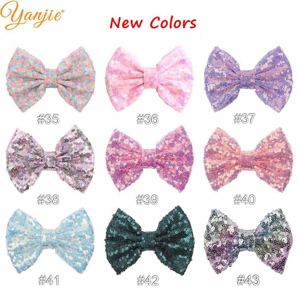 """Image 3 - 30pcs/lot 5"""" Knot Sequin Hair Bow WITHOUT Hair Clips  Girls Solid Glitter Bow For Kids DIY Headband Hair Bands Hair Accessories-in Hair Accessories from Mother & Kids"""