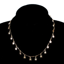 Simple Exquisite Sequins Star Pendant Necklace Womens Fashion Gold Color Clavicle Chain Choker XL401