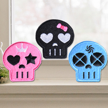 Skull Skeleton Patches Embroidered Patch Clothing Sticking Iron On Or Sew For Clothes Scrapbooking Appliques Badge DIY Accessory