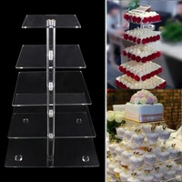 5 Tier Square Shape Acrylic Crystal Clear Cupcake Stand For Wedding Birthday Party Candy Display