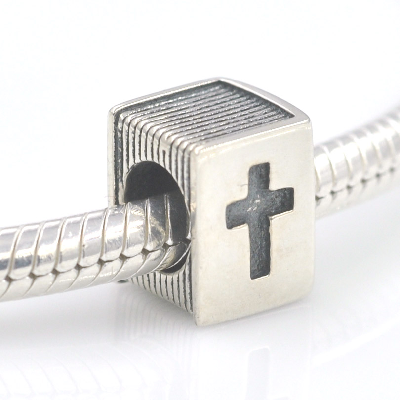 Or 14k Sur Argent Sterling Bible Livre Cross Bead for European Charm Bracelets
