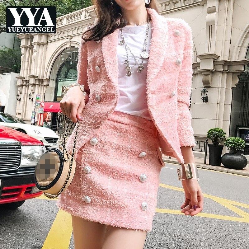 Nouveau mode rose 2 pièces ensembles femmes de luxe automne hiver Tweed veste courte et Mini jupe élégant Slim dames Plaid ensemble de fête