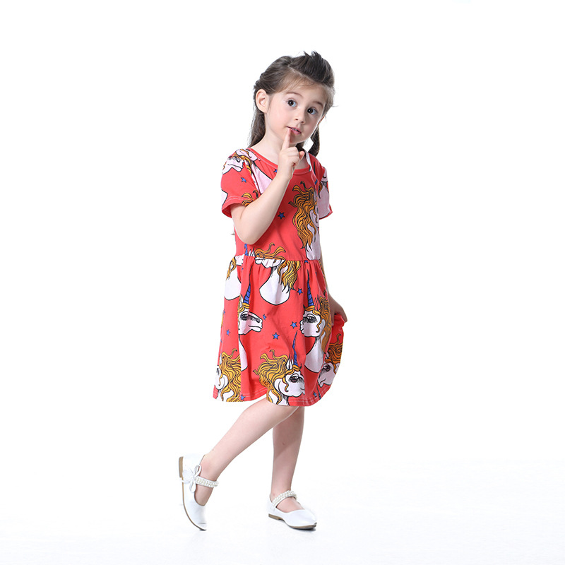 2018 new summer childrens clothing baby girls cloth dress global fashion sports animals unicorn princess dress