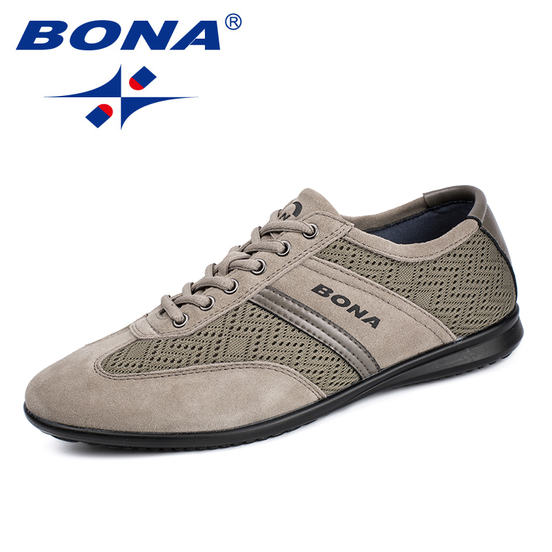 BONA New Classics Style Men Casual Shoes Mesh Men Loafers Lace Up Men Flats Outdoor Physical Exercises Sneakers Free Shipping