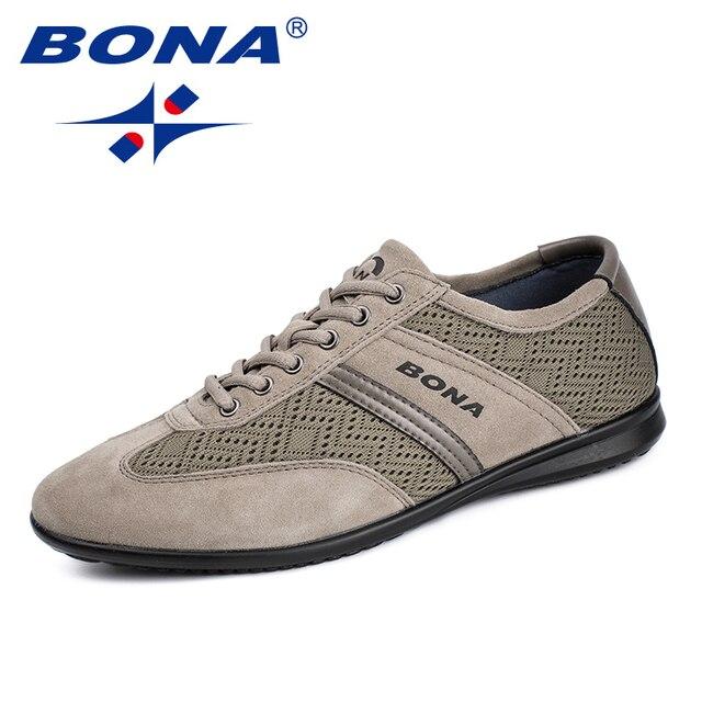 بونا جديد كلاسيكي نمط الرجال حذاء كاجوال شبكة حذاء رجالي الدانتيل يصل الرجال الشقق في الهواء الطلق التمارين البدنية أحذية رياضية شحن مجاني