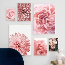 Pink Rose Peony Chrysanthemum Cactus Wall Art Canvas Painting Nordic Posters And Prints Pictures For Living Room Decor