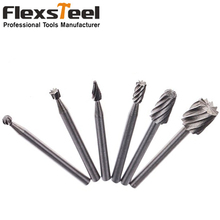 New 6PC 1/8 HSS Routing Router Bits Dremel Carbide Rotary Burrs Tools for Wood Stone Metal Root Carving Milling