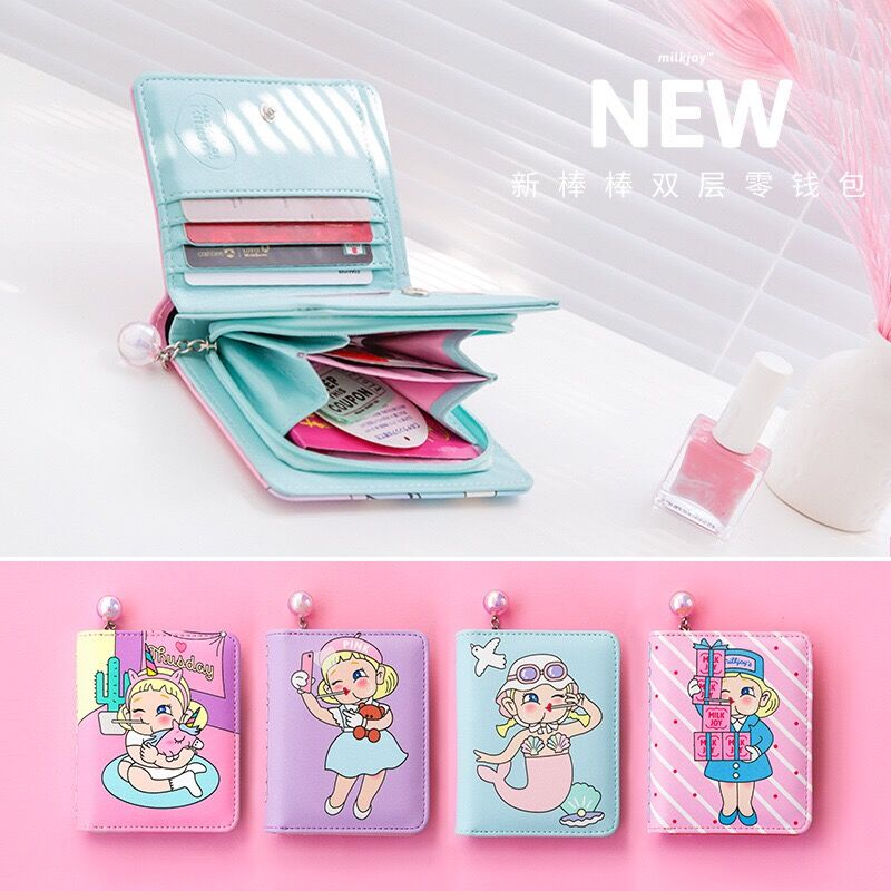Bentoy New Cartoon Wallet Women Short Purse Money Bag Zipper Hasp Coin Purse Milkjoy Cute Wallet For Girl Card Holder Carteira