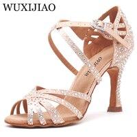WUXIJIAO Women Party Dance Shoes Satin Shining rhinestones Soft Bottom Latin Dance Shoes Woman Salsa Dance Shoes heel5CM 10CM