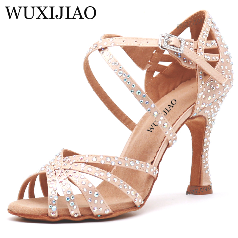 WUXIJIAO Women Party Dance Shoes Satin Shining rhinestones Soft Bottom Latin Dance Shoes Woman Salsa Dance Shoes heel5CM-10CM image