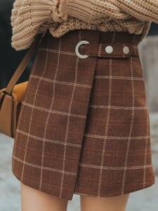 Retro Skirt Plaid Harajuku Woolen Female Autumn Winter Women's Japanese Kawaii Cute Ulzzang