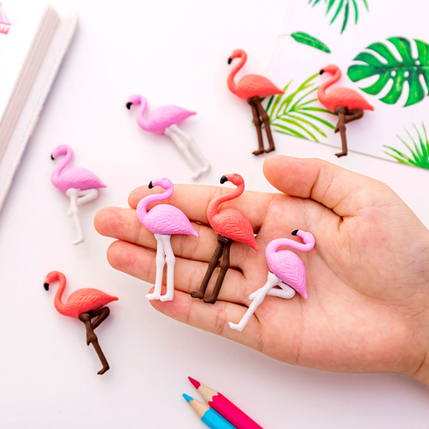 4pcs/pack Novetly Kawaii Flamingo Shape Pencil Eraser Gift Erasers Toy For Kids School Office Supplies Stationery Decorative