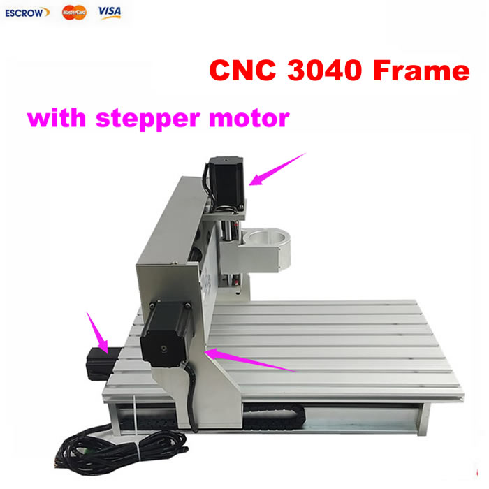 High quality cnc router kit aluminum parts 3040 CNC frame With stepper motor + limit switch, also have 3020/6040/6090 size hot selling small equipment business with stepper motor cnc router 600 900mm 600 400mm