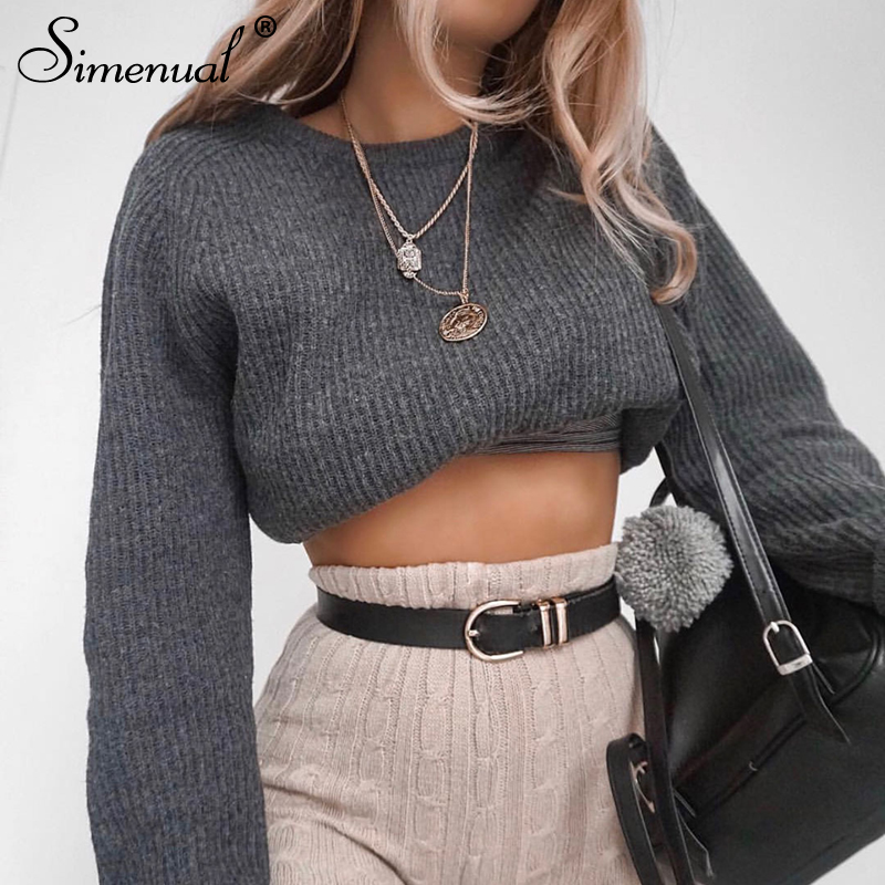 Simenual Casual Crop Sweater 2018 Autumn Winter Slim Grey Long Sleeve Jumper Knitwear Sexy Fashion Women Sweaters And Pullovers