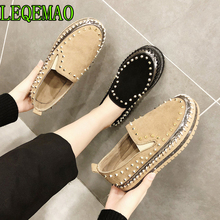 Flock espadrilles Shoes Woman Loafers Slip-On Flats Ladies Loafers Round Toe Moccasins European Famous brand