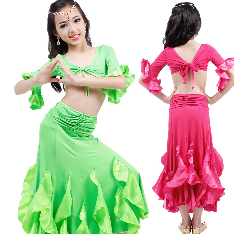 New Children Belly Dance Sets Good Quality Lotus Greenred Girls