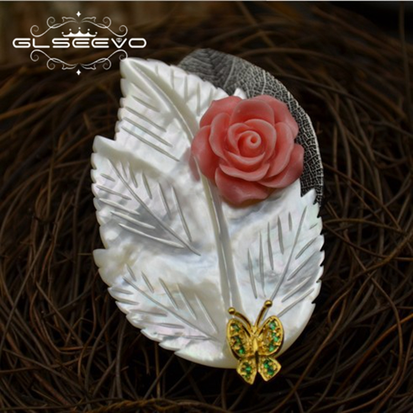GLSEEVO Natural Mother Of Pearl Leaf Brooch Pins Coral Flower Butterfly Brooches For Women Dual Use Luxury Fine Jewelry GO0296 delicate rhinestone flower leaf brooch for women